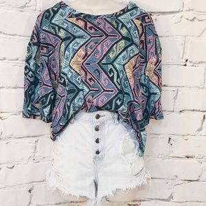 Urban Outfitters Cropped Bright Aztec T-Shirt Sz L